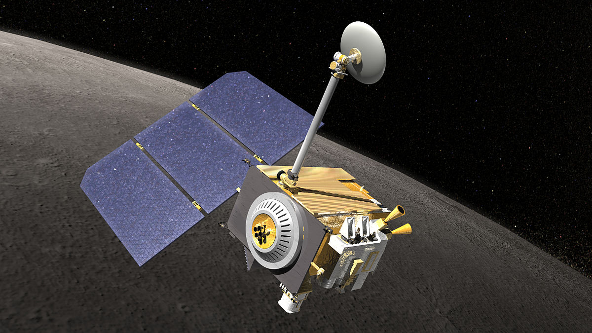 An image showing an artist's rendering of the LRO in moon orbit
