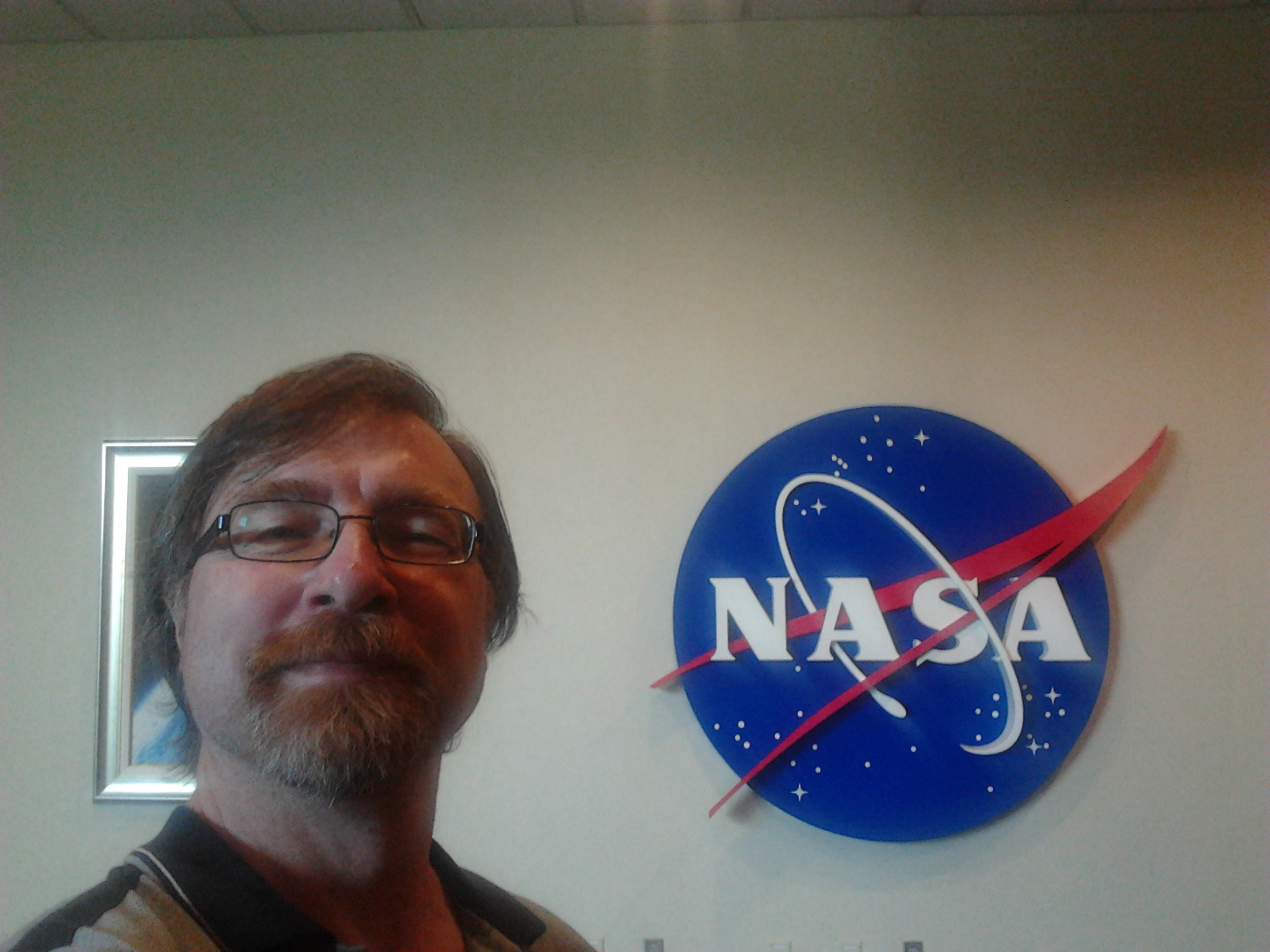 A picture of yours truly Stefano in front of the meatball NASA logo.