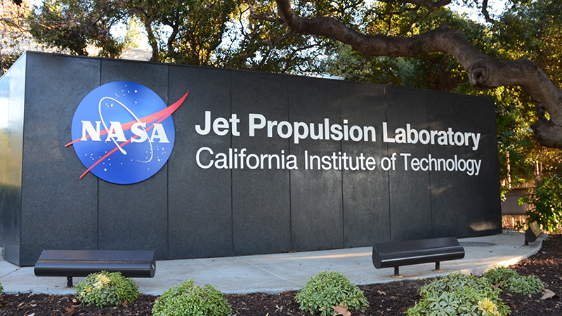 Large sign outside of Jet Propulsion Labs in Pasadena California