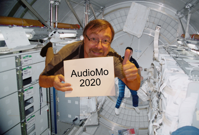 An image of slandi pretending to be an astronaut onboard the ISS.