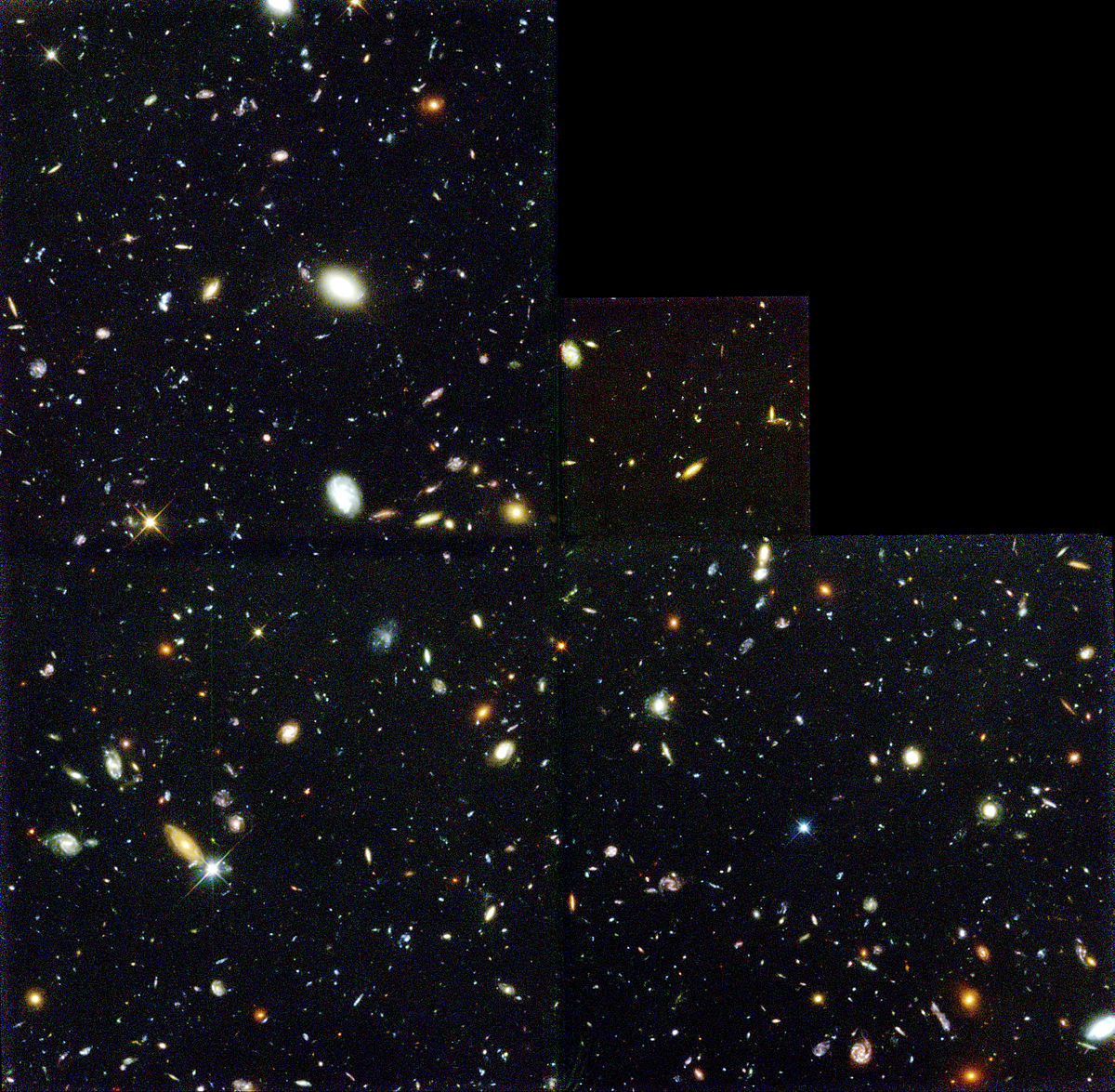 Image taken by the Hubble Space telescope know as the Hubble Deep Field image. Shows countless galaxies as fuzzy dots over an expanse of darkness.