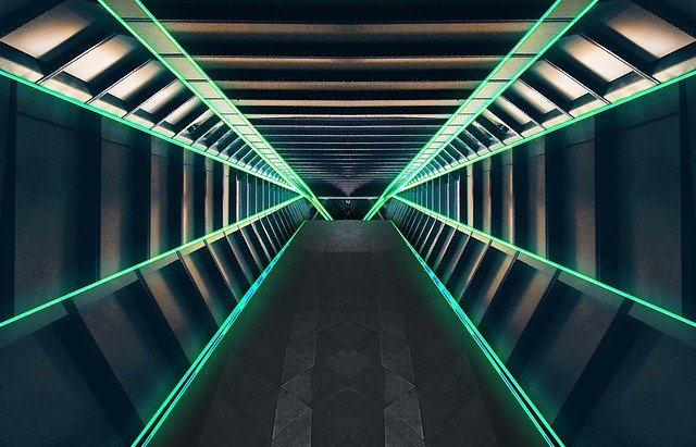 Image of a futuristic space station tunnel