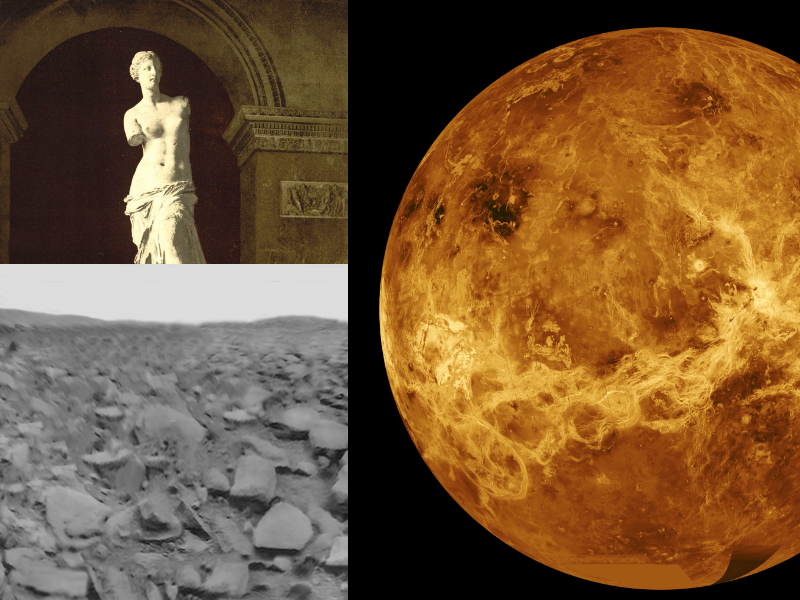 Montage of planet Venus, Venus de Milo sculpture and first ever picture from the surface of Venus or any other planet.