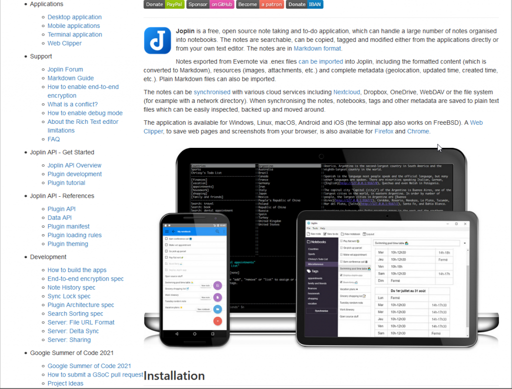 Image of Joplin homepage showing a screenshot of the Desktop app, mobile app and features list.